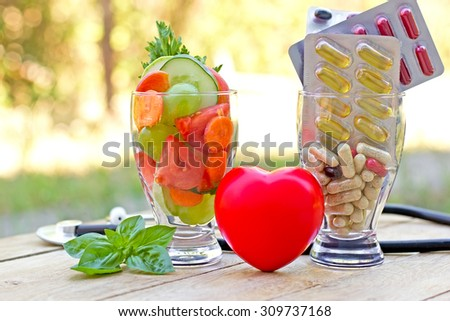 Healthy diet and supplements (concept of a healthy diet) - stock photo