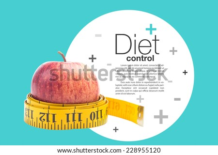healthy diet concept , apple and a measuring tape, clipping path on apple and measuring tape - stock photo