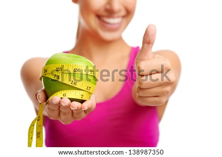 healthy diet concept woman with apple - stock photo