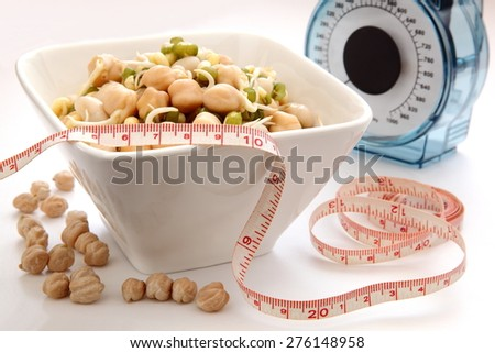 Healthy diet, germinated beans - stock photo