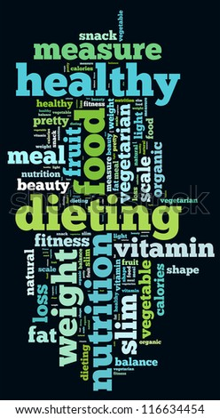 Healthy diet info-text graphics and arrangement concept on black background (word cloud) - stock photo