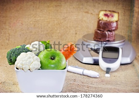 Healthy diet is a way to avoid diabetes - stock photo