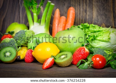 Healthy diet is the basis for your health - organic fruits and vegetables - stock photo