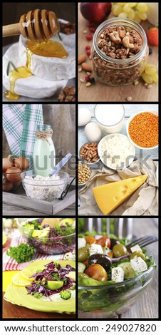 Healthy dishes and products in collage - stock photo