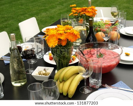 Healthy dishes for summer party in the garden