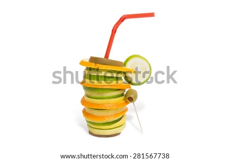 Healthy drink, fruit cocktail - stock photo