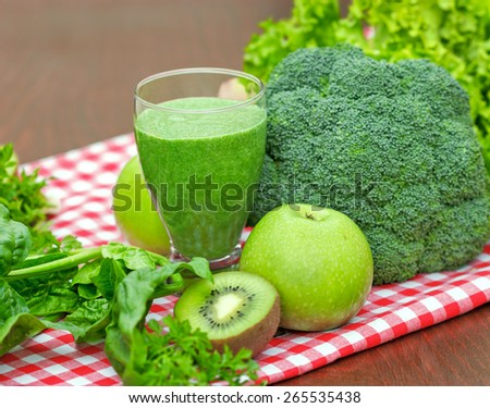 Healthy drink - green smoothie - stock photo