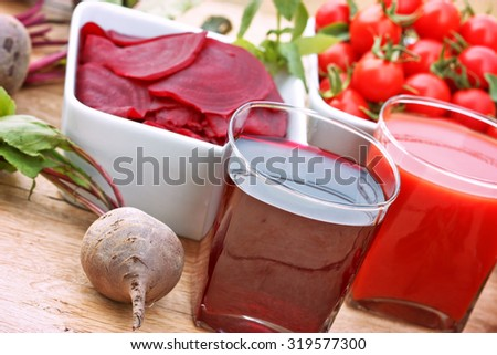 Healthy drinks (healthy juices) - beet and tomato juice - stock photo