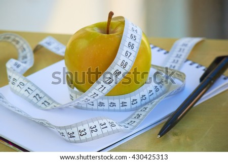 healthy eating apple notebook