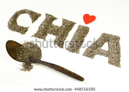 healthy eating chia seeds ingredient super food - stock photo