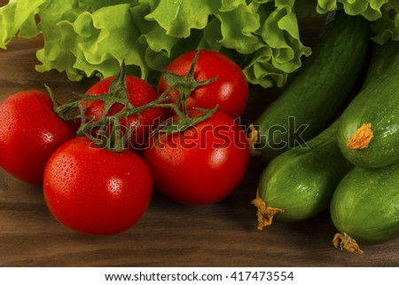 Healthy eating concept with fresh vegetables. Healthy eating concept.  Tomato.  Cucumber.  Healthy eating. Ripe vegetables. Fresh vegetables. Cherry tomato.  - stock photo