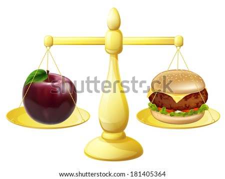 Healthy eating decision concept of an apple and burger on a set of scales - stock photo