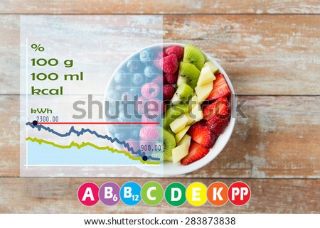 healthy eating, diet, vegetarian food and people concept - close up of fruits and berries in bowl on wooden table over vitamins and calories chart - stock photo