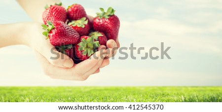healthy eating, dieting, vegetarian food and people concept - close up of woman hands holding ripe strawberries over grass and blue sky background - stock photo