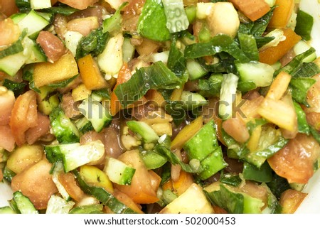 healthy eating, dieting, vegetarian kitchen - close up of vegetable salad.