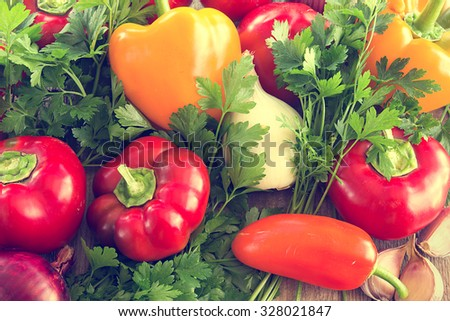 Healthy eating. Fresh vegetables on old wooden surface