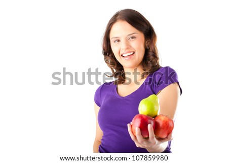 Healthy eating, happy woman with apples and pear - stock photo