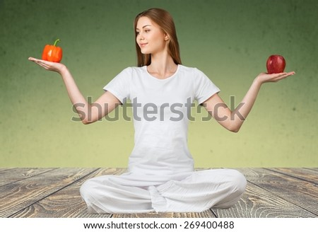 Healthy Eating, Healthy Lifestyle, Yoga. - stock photo