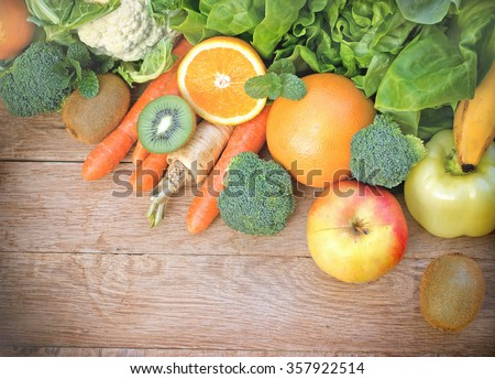 Healthy eating - organic fruits and vegetables - stock photo