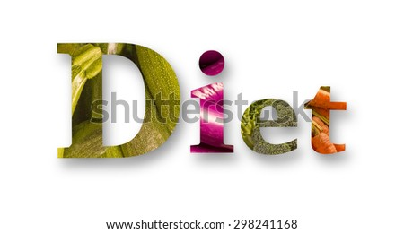 Healthy eating themed vegetables spell the word diet - stock photo