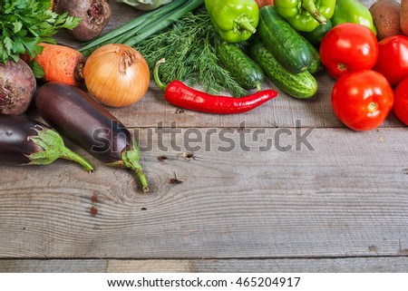 Healthy eating. Vegetarian, organic food. Vegetables on table from above. Vegetables on wooden background. Mixed vegetables collection.