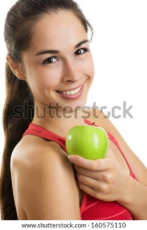 Healthy eating woman holding apple on white background