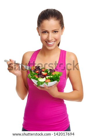 Healthy eating woman with salad isolated on white