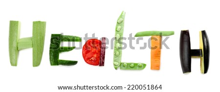 Healthy eating. Word Health made of vegetables, isolated on white - stock photo