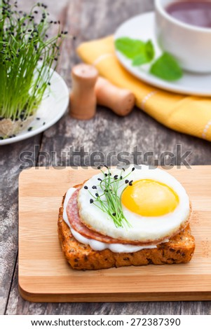 healthy egg sandwich with garlic chives - stock photo