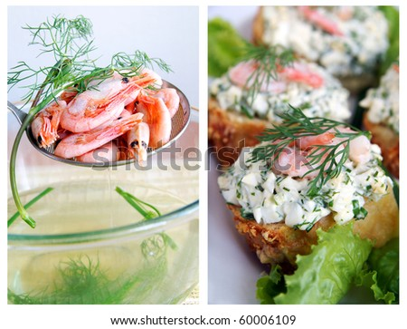 Healthy enrich sandwiches with shrimps, boiled eggs, green vegetables and herbs and boiled little shrimps with dill sprig on a skimmer - a collage, closeup, blur background - stock photo