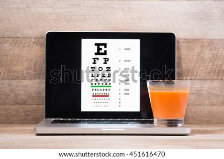 Healthy eyes. Eye chart and medicine - stock photo