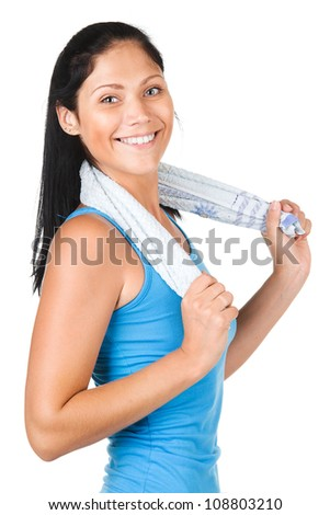 Healthy fit woman smiling and holding a towel . isolated on white background - stock photo