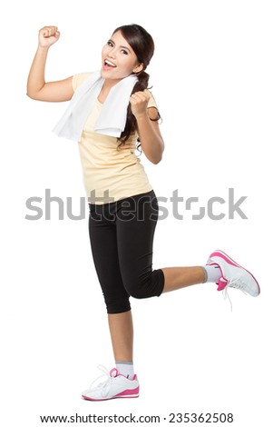healthy fitness woman doing fitness and smile - stock photo