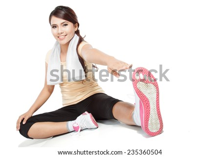 healthy fitness woman stretching before doing exercise - stock photo