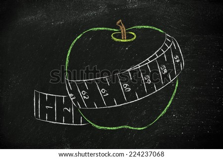 healthy food and active life, apple illustration with measuring tape - stock photo