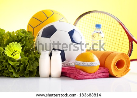 healthy food and sport equipment - stock photo