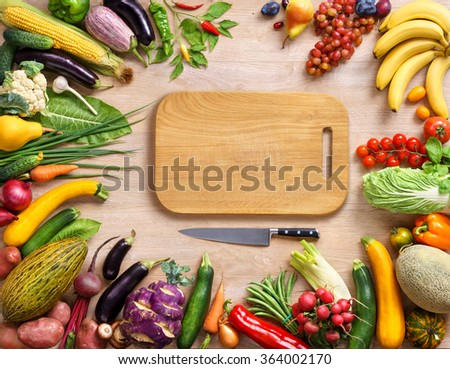 Healthy food background and wooden board / Top view with copy space / high-res product, studio photography of different vegetables on old wooden table.