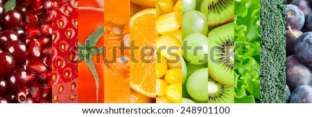 Healthy food background. Collection with different fruits, berries and vegetables - stock photo