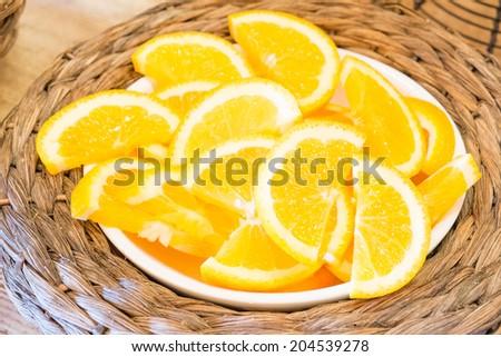 Healthy food, background. Orange  - stock photo