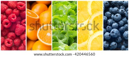 Healthy food backgrounds, five images of lemons, blueberries, raspberries, salad and oranges