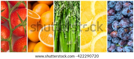 Healthy food backgrounds, five images of lemons, plums, tomatoes, asparagus and oranges - stock photo