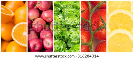 Healthy food backgrounds, five images of oranges, apples, lettuce, tomatoes and lemon