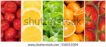 Healthy food backgrounds, five images of strawberries, lemons, tomatoes, salad and oranges - stock photo