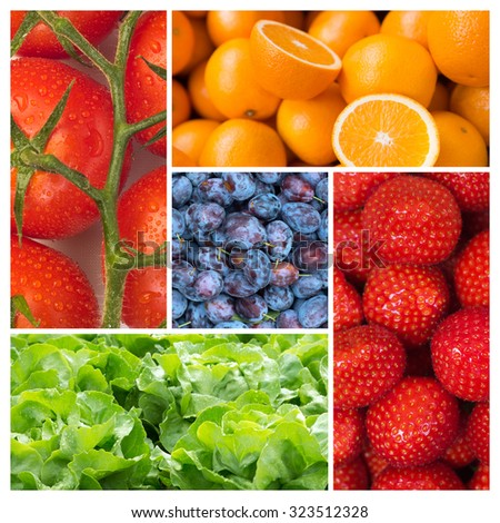 Healthy food backgrounds, five images of strawberries, tomatoes, salad, plums and oranges - stock photo