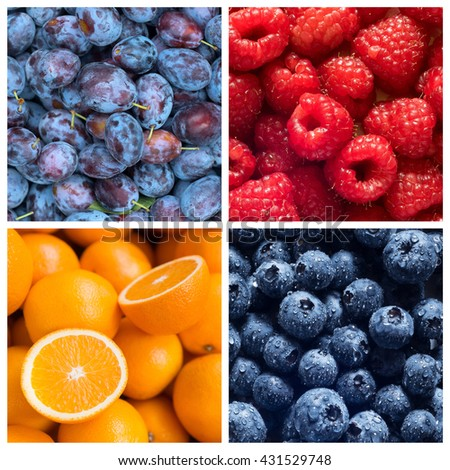 Healthy food backgrounds, four images of blueberries, raspberries, plums and oranges - stock photo
