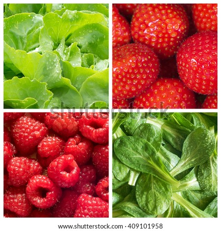 Healthy food backgrounds, four images of strawberries, lettuce, raspberries and field salad - stock photo