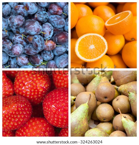 Healthy food backgrounds, four images of strawberries, pears, plums and oranges - stock photo