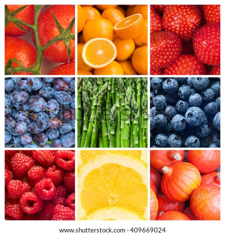 Healthy food backgrounds, nine images of strawberries, lemons, tomatoes, asparagus, raspberries, plums, blueberries, pumpkins and oranges - stock photo
