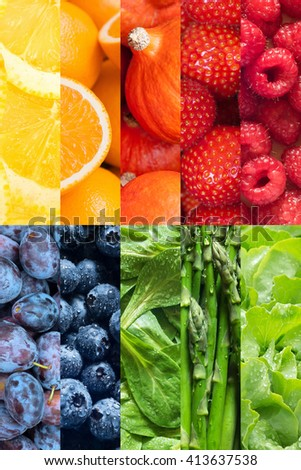Healthy food backgrounds, rainbow colors, ten images of strawberries, lemons, asparagus, raspberries, plums, blueberries, pumpkins, lettuce, oranges and field salad - stock photo