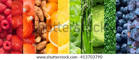 Healthy food backgrounds, rainbow colors, twelve images of strawberries, lemons, asparagus, raspberries, plums, blueberries, pumpkins, lettuce, cress, potatoes, savoy cabbage  and oranges - stock photo